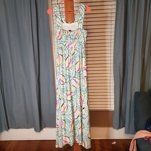Theory Silk Sahara Caribbean NWT Maxi Dress